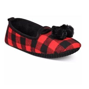 Charter Club Macy's Plaid Fur Memory Foam Slippers